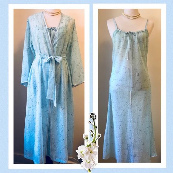 12ca7ed858ad Jones New York Intimates & Sleepwear | Aqua Nightgown Robe Set Size ...